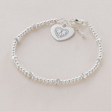 Engraved Sterling Silver Beaded Memorial Bracelet. | Someone Remembered
